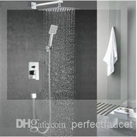 Wholesale high brass bathroom inwall concealed square shower sets faucets mixers taps with brass big shower head from inch to inch st