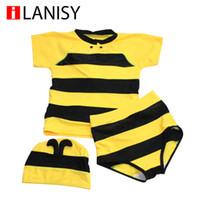 bees sale - 2016 hot sale new cartoon boys swim trunks Bee style boys swimwear three piece suit boy swimsuit