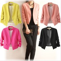 Wholesale Hot Sale Women s Blazer Jackets Spring New Solid Color Suit Ruched Sleeve Slim Fit Thin Coat Cardigan Tops Drop Shipping HOD1001