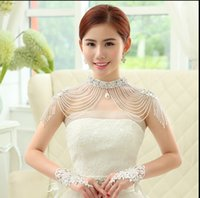 beaded stole - 2016 New Hot Sale Cheap White Luxury Beaded Stole Pearl Shrug Cape Stole Wrap Shawl Wedding Bridal Accessories