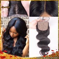 Cheap 7A Best Brazilian Silk Base Closure Human Hair Brazilian Body Wave Top Silk Base Closure Bleached Knots Cheap Silk Base Closures
