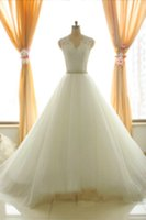 Real Photos real pearl - 2014 Sexy Lace Ball Gown Wedding Dresses V Neck Real Image Sheer Pearl Crystal Beading Ivory Tulle Belt Sash Formal Bridal Gowns SU33