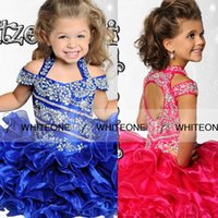 Wholesale Ritzee Girl Shiny Crystal Short Pageant Dresses Halter Ball Gown Toddler Pageant Dresses For Teens Backless Organza Pageant Gowns