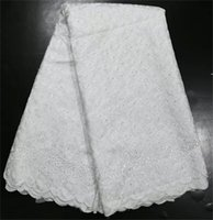african organza lace fabric - High quality white patern african embroidery lace fabric with nice decroation organza lace material for party O01 WT