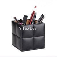 Wholesale Black PU Leather Brush Pot Square Desktop Pencil Pen Holder Pot Holder Pen Container Gift for Father or Children
