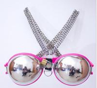 großhandel chastity bra-2016 neue Mode Female Verstellbare Edelstahl Band Bra Bondage Keuschheitsgürtel Gerät bdsm erwachsenes Geschlechts-Spielzeug