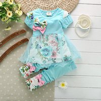 baby blue pants women - New Baby Girls Kids Piece Floral Short Sleeve T shirt Top Clothes Pants Outfit