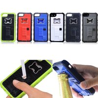 apple bottle opener - 3 In hybrid cigarette lighter bottle opener corkscrew camera stable tripod shockproof case cover for iphone5 s TPU case with USB cable