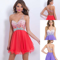 sexy mini short - One Shoulder Cheap Short Mini Homecoming Dresses Chiffon Backless Crystal Beaded Sexy Short Cocktail Dress Prom Party Gowns CPS093