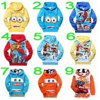 Wholesale 2015 new cars despicable me minions spider man Frozen Olaf long sleeve Hoodies Children Outerwear jackets kids sweatshirts NQW8