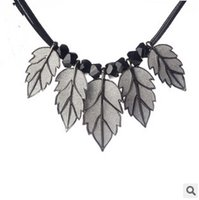 alloy maple leaves - 20pcs LJJC2543 New Arrival Vintage Necklace Europea America Alloy Maple Leaves Pendent Casual Hiphop Style Leather Sweater Pendent Necklace