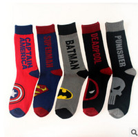 animal heroes - 1lot pairs Super Heroes mens socks Captain America Spider Man Superman men s knee high sports basketball running long men s socks