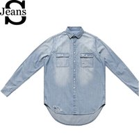 Cheap Wholesale-2015 New Mens Ripped Denim Shirt Long Sleeve Short Front Long Back Fashion Men's Jeans Shirt Destroyed Men Shirts Retail Q0989