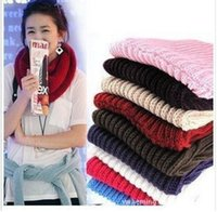Wholesale 20pcs Ms autumn and winter scarves Warm comfortable Knitted Ring scarf solid color stitching cm cm about g color SKU A579