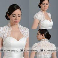 Wholesale Hot Sale Cheap Ivory Lace Wedding Jacket Short Sleeve Front Open Bridal Wraps And Shawls Shrug Coats Capes Bolero Custom Made Real PJ031