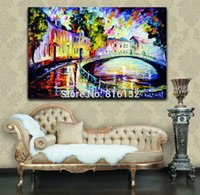 arch architecture - Arch Bridge Architecture Picture Palette Knife Oil Painting Canvas Printings Mural Art for Home Hotel Wall Decoration