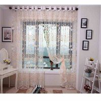 beauty tabs - Floral Pattern Voile Beautiful Curtain Tulle Door Window Curtain Sheer Voile Hazy beauty Curtain Drape Valance House Decoration