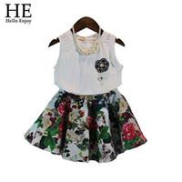 Wholesale Baby girls clothing sets summer style fashion white sleeveless vest broken flower skirt Girls wear evening dress new