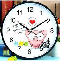 Wholesale 26cm Cartoon bedroom Mute creative children modern quartz Wall Clock Home Decoration Cute animal black pig Kids Wall Clock