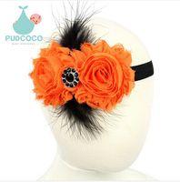 Wholesale 2015hot sale Halloween Baby Girls Feather Flowers Headband Hair Accessories For Children Kids Elastic Rhinestone Headwear
