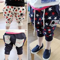 baby star clothings - new Summer childern clothings boys pants printed star marker calf length baby boy pants wholesales