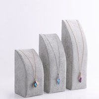 Wholesale Black Gray Velvet Pendant Necklace Chain Display Stand Bracelet Holder pc set Jewelry Packaging Displays