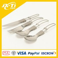 backpacking dinner - camping durable foldable titanium unbreakable dinner set Foldable titanium outdoor new design cutlery with spork fork knife and spoon