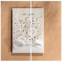 adorn designs personal - New Design White Flowers Wedding Invitations Hollow Free Personal Custom Wedding Suppliers Cards Laser Cut Bow Adorned For Bridal Wedding