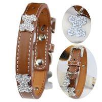 big dog collars bling - Pet Dog Collar Perro Collar for small big Dog S M L Brown Pu Material Bling Diamond Bone Luxurious Large Dog Collar