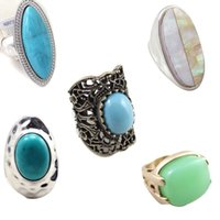 Wholesale Gemstone blue ring vintage oval silver plated shell ring white black green solitaire ring mixed sty