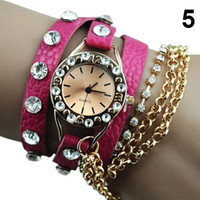 alloy chain slings - The Ex worked Women s Hawaiian Sparkling Rhinestone Long Leather Quartz Sling Chain watches V6E