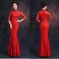 custom made cheongsam - 2015 High Collar Long Sleeve Evening Dresses Floor Length Cheongsam Lace Zipper Custom Made Evening Dresses Custom Made