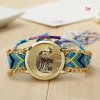 Wholesale New Women Ladies Braid Weave Watches Fashion Design Lovely Animal Elephant Dial Face Bracelet Watches