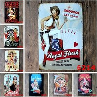 Wholesale cm Metal Tin Sign Casino Retro vintage Classic Tin Bar pub home Wall Decor Retro Tin Poster