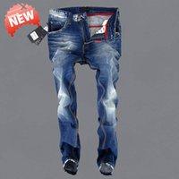 Wholesale Vintage Ripped Jeans For Men Blue Printed cowboy Italian Fashion Design pants World famous brand men s denim trousers E5002