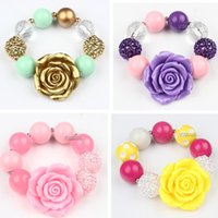Cheap Infinity Bracelets with Charm Rose Flower Beads Bracelet Crystal DIY Disco Ball Handmade Strand Stretch bracelets jewelry for Baby Children