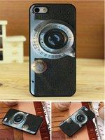 leica stile della macchina fotografica di stampa sul caso Pu trasversale del cuoio del modello Hard Black per iPhone 4 4s 4g 4th