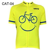 Wholesale 2016 Biking Smiley Cycling Jersey Sets Yellow Cycling Tops Comfortable Bike Wear Cycling Clothing Short Sleeve Cycling Jerseys