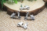 antique vespa - 15pcs Scooter Charms Antique Tibetan Silver Tone Motorbike Vespa Moped Motorcycle pendants charms x15mm