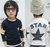 Wholesale Cotton Shirts Long Sleeve T Shirt Children T Shirts Child Shirt Fashion Round Neck Shirts Kids Clothing Boys Stars Printed Casual T Shirt