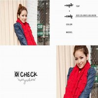 knitted cashmere scarf - Chic Women All match Red Cashmere Knitted Tassel Scarf Crochet Pocket Neckerchief Loop Shawl Wraps EQL1