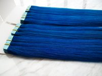 tape hair remy - New shop best price quot quot grams PU tape hair extensions pack AAA India Remy Blue