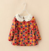 blue deep clothing - Pearls Lapel Collar Colorful Dots Children Girls Knitwear Spring Children Pullover Shirts Kids Long Sleeve Clothes Deep Blue Pink L1640