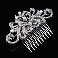 best hair combs - Vintage Fashion Clear Diamante Flower Hair Comb Best Gift Hair Decoration Jewelry H004 Pearl Hair Comb