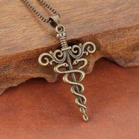ancient greece jewelry - Ancient Greece Antique Bronze Plated cross pendant Necklace hollow crochet design For Women men vintage jewelry