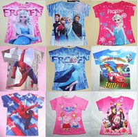Summer frozen tshirt - New Frozen Big hero cartoon T shirts Spiderman Autobots Martha anna elsa ice queen short sleeves Tshirt tops pure cotton Children Clothing