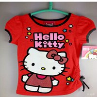 Wholesale On sale baby clothing girls T Shirt Kids Children Tops Summer cartton Short Sleeve Clothing t shirt Hello kitty