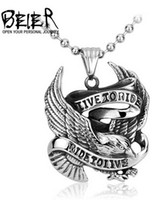american experience - BEIER Fashion new special experience European style pendant titanium steel men eagle letter pendants BP8