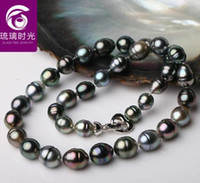 Women's baroque tahitian pearl necklace - mm tahitian black baroque pearl necklace inch