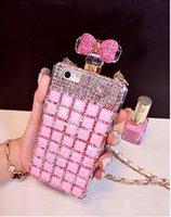 Caso botella de perfume de lujo hecho a mano de Bling del diamante rosa para iPhone5 5S 6 6s Plus cubierta de TPU